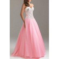 Sexy Strapless Sleeveless Sequined Lace-Up Dress For Women pink