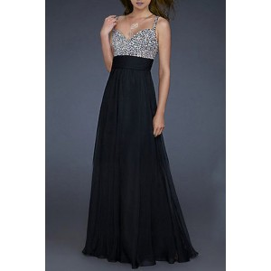 Sexy Sweetheart Neck Sleeveless Sequined Color Block Dress For Women