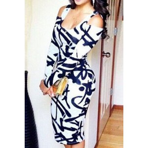 Sexy U-Neck Shoulder Cut Out Long Sleeve Printed Bodycon Dress For Women blue