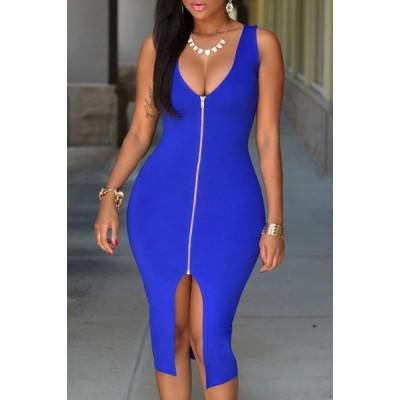 Sexy V-Neck Sleeveless Slit Bodycon Zippered Dress For Women blue black white