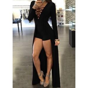 Sexy Women's Plunging Neck Criss-Cross Long Sleeve Maxi Dress red black