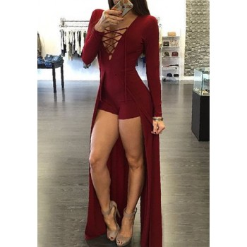 Sexy Women's Plunging Neck Criss-Cross Long Sleeve Maxi Dress red black