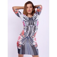 Sexy Women's Round Collar Floral Print 3/4 Sleeve Dress