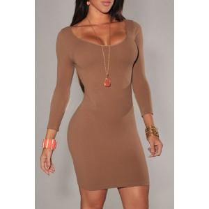 Sexy Women's Scoop Neck Candy Color Low-Cut Long Sleeve Dress BLACK, CELADON, COFFEE, GRAY, GREEN, LIGHT BLUE, PURPLE
