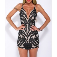 Sexy Women's Spaghetti Strap Open Back Lace Dress
