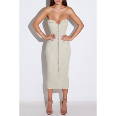 Sexy Women's Strapless Zippered Sleeveless Dress gray