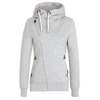 Simple Hooded Long Sleeve Pure Color Hoodie For Women gray