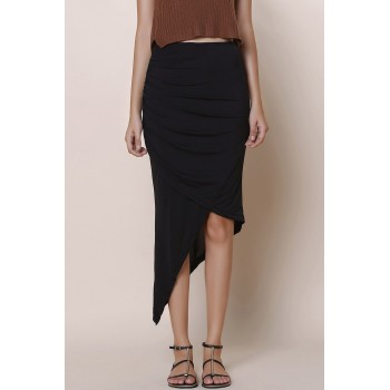 Solid Color Asymmetric Fashionable Skirt For Women