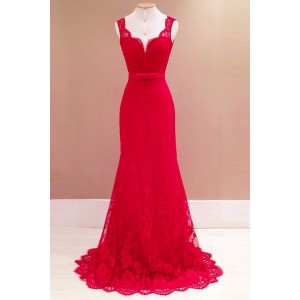 Solid Color Backless Elegant Sweetheart Neck Sleeveless Lace Maxi Dress For Women red