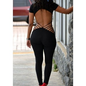 Solid Color Backless Hollow Out Sexy Scoop Neck Short Sleeve Jumpsuit For Women black
