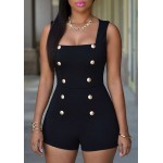 Solid Color Button Embellished Sexy Square Neck Sleeveless Romper For Women black white