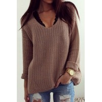 Solid Color Casual V-Neck Long Sleeves Pullover Sweater For Women brown