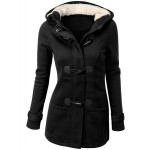 Solid Color Double-Pocket Flocking Casual Hooded Long Sleeve Coat For Women BLACK, COFFEE, DEEP GRAY, LIGHT GRAY