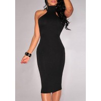Solid Color Hollow Out Elegant Turtle Neck Sleeveless Bodycon Dress For Women black red white