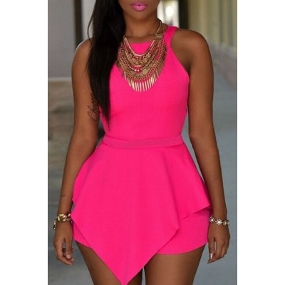 Solid Color Irregular Hem Cut Out Fashionable Round Collar Sleeveless Romper For Women black pink