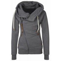 Solid Color Long Sleeves Casual Style Hoodie For Women