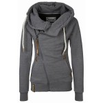 Solid Color Long Sleeves Casual Style Hoodie For Women DEEP GRAY, KHAKI, SMOKY GRAY