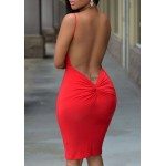 Solid Color Open Back Sexy Spaghetti Strap Bodycon Dress For Women red blue