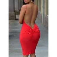 Solid Color Open Back Sexy Spaghetti Strap Bodycon Dress For Women red blue