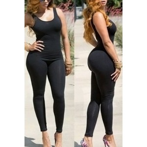 Solid Color Skinny Sexy Scoop Neck Sleeveless Jumpsuit For Women black
