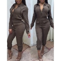 Solid Color Zippered Fashionable Turn-Down Collar Long Sleeve Jumpsuit For Women