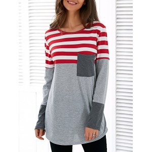 Spliced Asymmetric Striped T-Shirt