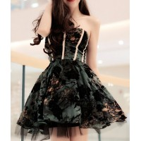 Strapless Embroidered Elegant Ball Gown Dress For Women black