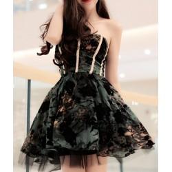 Strapless Embroidered Elegant Ball Gown Dress For Women black