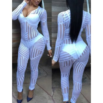 Striped See-Through Sexy Plunging Neck Long Sleeve Jumpsuit For Women