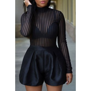 Striped See-Through Sexy Turtle Neck Long Sleeve Romper For Women