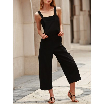 Stylish Black Loose-Fitting Cropped Overalls For Women black