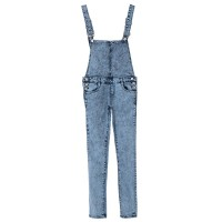 Stylish Bleach Wash Criss-Cross Denim Overalls For Women blue