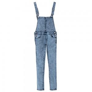 Stylish Bleach Wash Criss-Cross Denim Overalls For Women blue