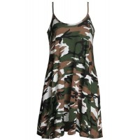 Stylish Camouflage Pattern Spaghetti Strap Sundress For Women