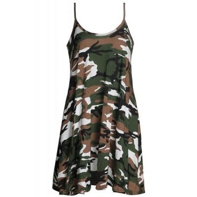Stylish Camouflage Pattern Spaghetti Strap Sundress For Women
