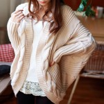 Stylish Collarless Cable-Knit Dolman Sleeve Cardigan For Women white