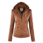 Stylish Convertible Collar Long Sleeve Solid Color Zippered Jacket For Women BLACK, COFFEE, KHAKI, LIGHT KHAKI, WHITE