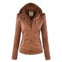 Stylish Convertible Collar Long Sleeve Solid Color Zippered Jacket For Women BLACK, COFFEE, KHAKI, LIGHT KHAKI, WHITE