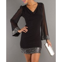 Stylish Cowl Neck Long Sleeve See-Through Voile Spliced Dress For Women