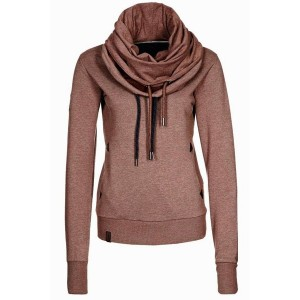 Stylish Cowl Neck Long Sleeve Solid Color Sweatshirt For Women brown