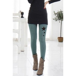 Stylish Elastic Waist Star Pattern Hollow Out Bodycon Ankle Pants For Women gray