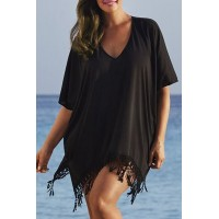Stylish Half Sleeve V-Neck Fringed Chiffon Cover-Up For Women black