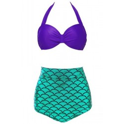 Stylish Halter Fish Scale Pattern Women's Bikini Set purple