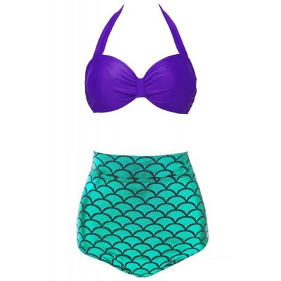 Stylish Halter Fish Scale Pattern Women's Bikini Set purple