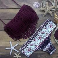 Stylish Halter Fringed Floral Printed Women's Bikini Set purple white