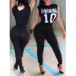 Stylish Hooded Sleeveless Letter Print Jumpsuit For Women black