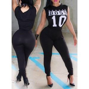Stylish Hooded Sleeveless Letter Print Jumpsuit For Women black