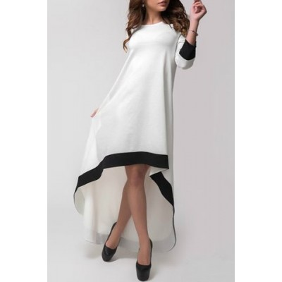 Stylish Jewel Collar 3/4 Sleeve Asymmetrical Color Block Dress For Women white black