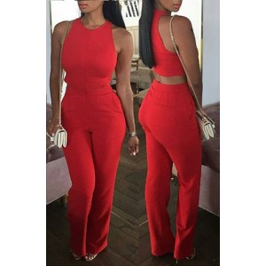 Stylish Jewel Neck Sleeveless Hollow Out Solid Color Women's Jumpsuit red