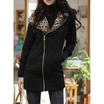Stylish Long Sleeve Leopard Zippered Hoodie For Women black